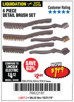 Harbor Freight Coupon 6 PIECE DETAIL BRUSH SET Lot No. 93610/69526/62616 Expired: 10/31/19 - $1.49