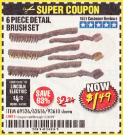 Harbor Freight Coupon 6 PIECE DETAIL BRUSH SET Lot No. 93610/69526/62616 Expired: 11/30/19 - $1.49