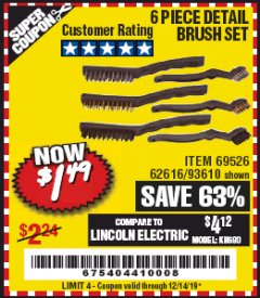 Harbor Freight Coupon 6 PIECE DETAIL BRUSH SET Lot No. 93610/69526/62616 Expired: 12/14/19 - $1.49