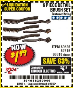 Harbor Freight Coupon 6 PIECE DETAIL BRUSH SET Lot No. 93610/69526/62616 Valid Thru: 5/16/20 - $1.49