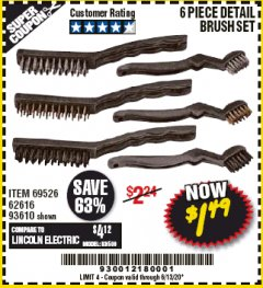 Harbor Freight Coupon 6 PIECE DETAIL BRUSH SET Lot No. 93610/69526/62616 Expired: 6/30/20 - $1.49