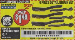 Harbor Freight Coupon 6 PIECE DETAIL BRUSH SET Lot No. 93610/69526/62616 Expired: 6/13/20 - $1.49
