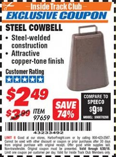 Harbor Freight ITC Coupon STEEL COWBELL Lot No. 97659 Expired: 6/30/18 - $2.49