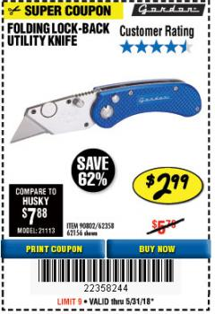 Harbor Freight Coupon FOLDING LOCKING BACK UTILITY KNIFE Lot No. 62358/92462/90802/62156 Expired: 5/31/18 - $2.99