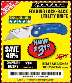 Harbor Freight Coupon FOLDING LOCKING BACK UTILITY KNIFE Lot No. 62358/92462/90802/62156 Expired: 9/29/18 - $3.99
