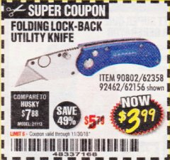 Harbor Freight Coupon FOLDING LOCKING BACK UTILITY KNIFE Lot No. 62358/92462/90802/62156 Expired: 11/30/18 - $3.99
