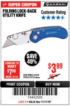 Harbor Freight Coupon FOLDING LOCKING BACK UTILITY KNIFE Lot No. 62358/92462/90802/62156 Expired: 11/11/18 - $3.99
