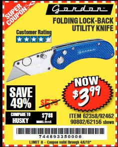 Harbor Freight Coupon FOLDING LOCKING BACK UTILITY KNIFE Lot No. 62358/92462/90802/62156 Expired: 4/5/19 - $3.99