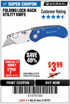 Harbor Freight Coupon FOLDING LOCKING BACK UTILITY KNIFE Lot No. 62358/92462/90802/62156 Expired: 2/10/19 - $3.99