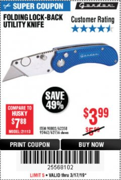 Harbor Freight Coupon FOLDING LOCKING BACK UTILITY KNIFE Lot No. 62358/92462/90802/62156 Expired: 3/17/19 - $3.99