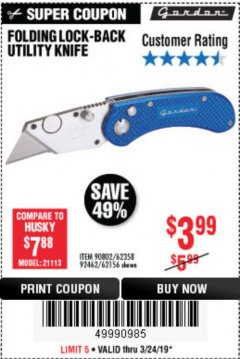 Harbor Freight Coupon FOLDING LOCKING BACK UTILITY KNIFE Lot No. 62358/92462/90802/62156 Expired: 3/24/19 - $3.99