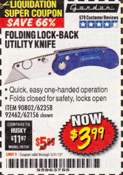 Harbor Freight Coupon FOLDING LOCKING BACK UTILITY KNIFE Lot No. 62358/92462/90802/62156 Expired: 5/31/19 - $3.99