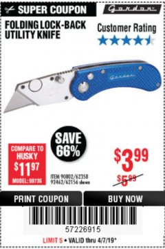 Harbor Freight Coupon FOLDING LOCKING BACK UTILITY KNIFE Lot No. 62358/92462/90802/62156 Expired: 4/7/19 - $3.99