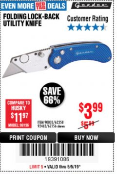 Harbor Freight Coupon FOLDING LOCKING BACK UTILITY KNIFE Lot No. 62358/92462/90802/62156 Expired: 5/5/19 - $3.99