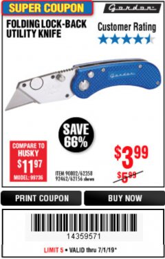 Harbor Freight Coupon FOLDING LOCKING BACK UTILITY KNIFE Lot No. 62358/92462/90802/62156 Expired: 6/30/19 - $3.99