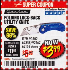 Harbor Freight Coupon FOLDING LOCKING BACK UTILITY KNIFE Lot No. 62358/92462/90802/62156 Expired: 8/31/19 - $3.99
