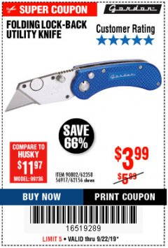 Harbor Freight Coupon FOLDING LOCKING BACK UTILITY KNIFE Lot No. 62358/92462/90802/62156 Expired: 9/22/19 - $3.99