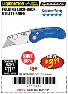Harbor Freight Coupon FOLDING LOCKING BACK UTILITY KNIFE Lot No. 62358/92462/90802/62156 Expired: 10/31/19 - $3.99