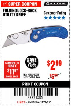 Harbor Freight Coupon FOLDING LOCKING BACK UTILITY KNIFE Lot No. 62358/92462/90802/62156 Expired: 10/20/19 - $2.99