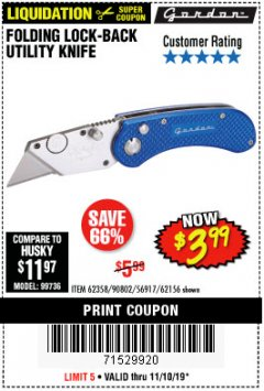 Harbor Freight Coupon FOLDING LOCKING BACK UTILITY KNIFE Lot No. 62358/92462/90802/62156 Expired: 11/10/19 - $3.99
