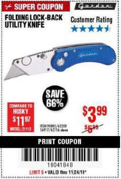 Harbor Freight Coupon FOLDING LOCKING BACK UTILITY KNIFE Lot No. 62358/92462/90802/62156 Expired: 11/24/19 - $3.99