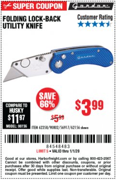 Harbor Freight Coupon FOLDING LOCKING BACK UTILITY KNIFE Lot No. 62358/92462/90802/62156 Expired: 1/1/20 - $3.99