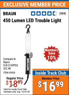 Harbor Freight ITC Coupon 450 LUMENS LED TROUBLE LIGHT Lot No. 63920 Expired: 10/31/20 - $16.99