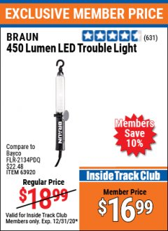 Harbor Freight ITC Coupon 450 LUMENS LED TROUBLE LIGHT Lot No. 63920 Expired: 12/31/20 - $16.99