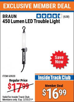 Harbor Freight ITC Coupon 450 LUMENS LED TROUBLE LIGHT Lot No. 63920 Expired: 2/25/21 - $16.99