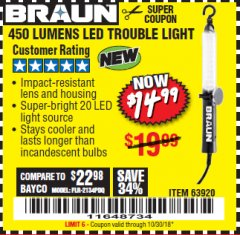 Harbor Freight Coupon 450 LUMENS LED TROUBLE LIGHT Lot No. 63920 Expired: 10/30/18 - $14.99