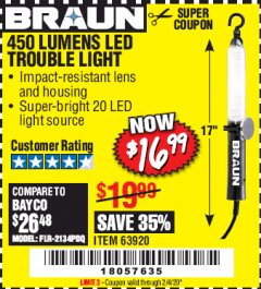 Harbor Freight Coupon 450 LUMENS LED TROUBLE LIGHT Lot No. 63920 Expired: 2/4/20 - $16.99