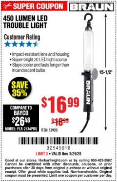 Harbor Freight Coupon 450 LUMENS LED TROUBLE LIGHT Lot No. 63920 Valid: 3/1/20 - 3/29/20 - $16.99