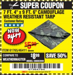 "Harbor Freight Coupon 7'4""X9'6"" CAMOUFLAGE TARP Lot No. 61765/46411 Expired: 8/24/18 - $4.49"