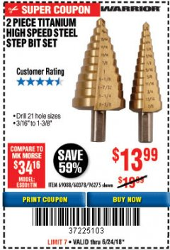 Harbor Freight Coupon 2 PIECE TITANIUM NITRIDE COATED HIGH SPEED STEEL STEP DRILL BITS Lot No. 96275/69088/60378 Expired: 6/24/18 - $13.99