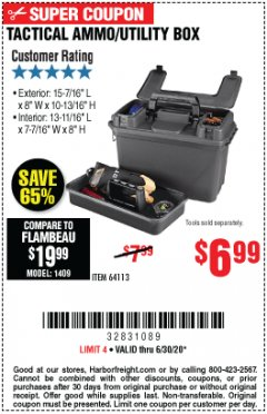 Harbor Freight Coupon TACTICAL AMMO BOX W/TRAY Lot No. 64113 EXPIRES: 6/30/20 - $6.99