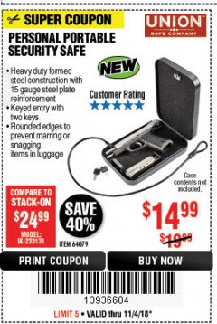 Harbor Freight Coupon PERSONAL PORTABLE SECURITY SAFE Lot No. 64079 Expired: 11/4/18 - $14.99