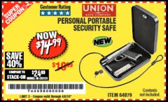 Harbor Freight Coupon PERSONAL PORTABLE SECURITY SAFE Lot No. 64079 Expired: 4/5/19 - $14.99