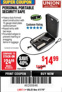 Harbor Freight Coupon PERSONAL PORTABLE SECURITY SAFE Lot No. 64079 Expired: 4/1/19 - $14.99