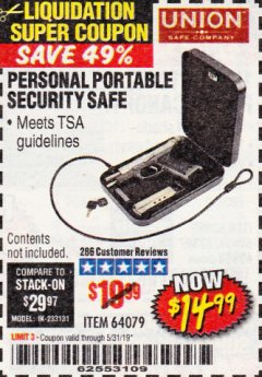 Harbor Freight Coupon PERSONAL PORTABLE SECURITY SAFE Lot No. 64079 Expired: 5/31/19 - $14.99