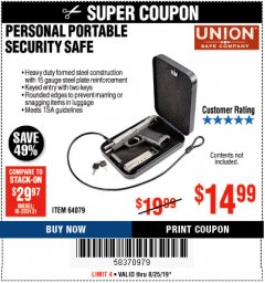 Harbor Freight Coupon PERSONAL PORTABLE SECURITY SAFE Lot No. 64079 Expired: 8/25/19 - $14.99