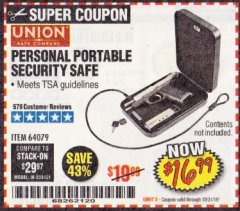 Harbor Freight Coupon PERSONAL PORTABLE SECURITY SAFE Lot No. 64079 Expired: 10/31/19 - $16.99