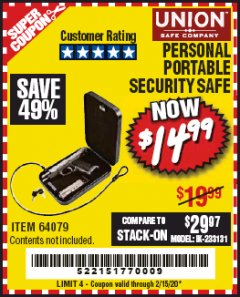 Harbor Freight Coupon PERSONAL PORTABLE SECURITY SAFE Lot No. 64079 Expired: 2/15/20 - $14.99