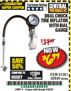 Harbor Freight Coupon DUAL CHUCK TIRE INFLATOR WITH DIAL GAUGE Lot No. 68271/61387 Expired: 6/30/20 - $6.99