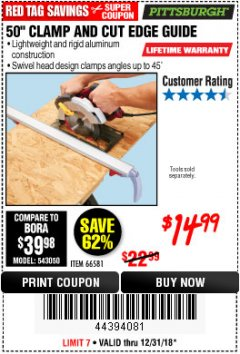 "Harbor Freight Coupon 50"" CLAMP & CUT EDGE GUIDE Lot No. 66581 Expired: 12/31/18 - $14.99"