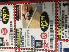 "Harbor Freight Coupon 50"" CLAMP & CUT EDGE GUIDE Lot No. 66581 Expired: 8/31/19 - $12.99"