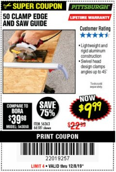 "Harbor Freight Coupon 50"" CLAMP & CUT EDGE GUIDE Lot No. 66581 Expired: 12/8/19 - $9.99"