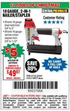 Harbor Freight Coupon 18 GAUGE 2-IN-1 NAILER/STAPLER Lot No. 68019/61661/63156 Expired: 12/24/19 - $5