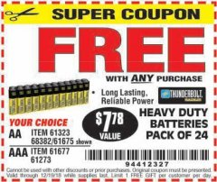 Harbor Freight FREE Coupon 24 PACK HEAVY DUTY BATTERIES Lot No. 61675/68382/61323/61677/68377/61273 Expired: 12/19/18 - FWP