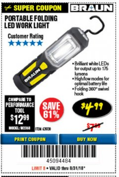 Harbor Freight Coupon PORTABLE FOLDING LED WORK LIGHT Lot No. 63930 Expired: 8/31/18 - $4.99