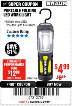 Harbor Freight Coupon PORTABLE FOLDING LED WORK LIGHT Lot No. 63930 Expired: 4/7/19 - $4.99